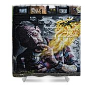 Wall In Fire Shower Curtain by Normand Laporte