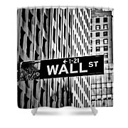 Wall St Sign New York In Black And White Shower Curtain