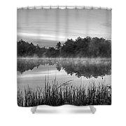 Wallis Sands Marsh Smoke On The Water Rye Nh Black And White Shower Curtain