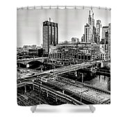 Walnut Street City View In Black And White Shower Curtain
