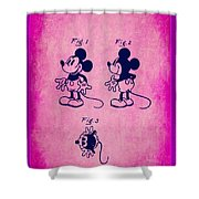 Walt Disney Mickey Mouse Toy Patent 2g Shower Curtain