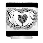 Walt Disney's Mickey Mouse Inspired Hands And Heart Shower Curtain