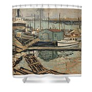Walter  E  Schofield 1867-1944 Dock With Shed Shower Curtain