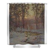 Walter Launt Palmer 1854-1932 Winter Stream At Sunset Shower Curtain