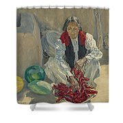 Walter Ufer 1876-1936 Stringing Chili Peppers Shower Curtain