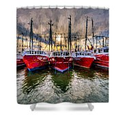 Wanchese Fishing Company Fleet Shower Curtain