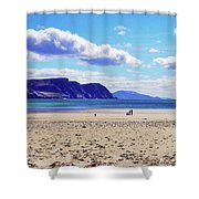 Wandering On The Beach Under The Clouds Shower Curtain