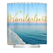 Wanderlust, Santorini Greece Ocean Coastal Sentiment Art Shower Curtain