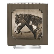 War Horse Aged Photo Fx Shower Curtain