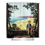 Warazze, Savona, Italy, Woman On Hotel Terrace Shower Curtain
