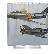 Warbirds Heritage F-86 Sabre And P-51 Mustang Shower Curtain