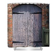 Warehouse Wooden Door Shower Curtain by Thomas Marchessault