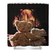 Warm And Cosy Teddies By The Fireside Shower Curtain