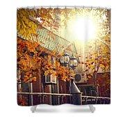 Warm Autumn City. Warm Colors And A Large Film Grain. Shower Curtain