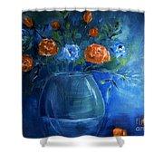 Warm Blue Floral Embrace Painting Shower Curtain