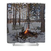 Warm Camp Fire Shower Curtain