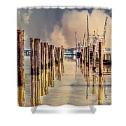 Warm Reflections In The Marina Shower Curtain