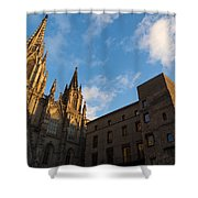Warm Sun Glow On The Cathedral Of Barcelona Shower Curtain