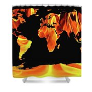 Warming World Map Shower Curtain
