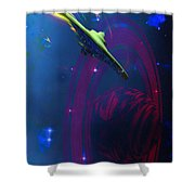 Warp Pulse Shower Curtain by Corey Ford