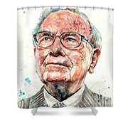 Warren Buffett Portrait Shower Curtain
