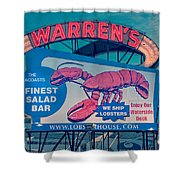 Warrens Lobster House Neon Sign Kittery Maine Shower Curtain