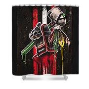 Warrior Glove On Black Shower Curtain