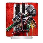 Warrior Glove On Red Shower Curtain