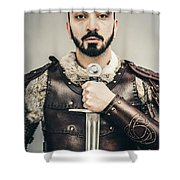 Warrior With Sword Shower Curtain