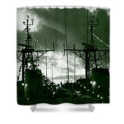Warships At Twilight Shower Curtain