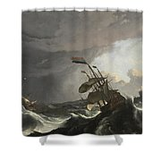 Warships In A Heavy Storm Shower Curtain