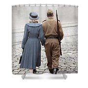 Wartime Couple Shower Curtain