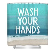 Wash Your Hands- Beach Art By Linda Woods Shower Curtain