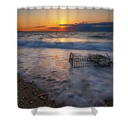Washed Up Crab Cage 16x9 Shower Curtain