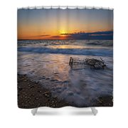 Washed Up Crab Trap Shower Curtain