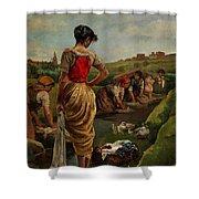 Washerwomen In Candas Asturias Amoros Botella, Antonio Shower Curtain