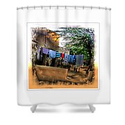 Washing Line And Cows Indian Village Rajasthani 1b Shower Curtain