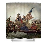 Washington Crossing The Delaware River Shower Curtain by Emanuel Gottlieb Leutze