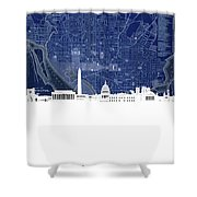 Washington Dc Skyline Map 4 Shower Curtain