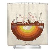 Washington Dc Skyline Retro Shower Curtain