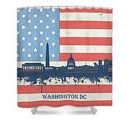 Washington Dc Skyline Usa Flag 3 Shower Curtain