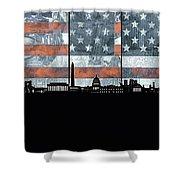 Washington Dc Skyline Usa Flag Shower Curtain