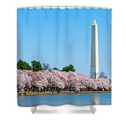 Washington Monument And Cherry Blossoms Shower Curtain