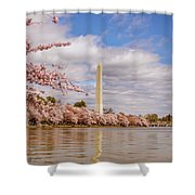 Washington Monument With Cherry Blossom Shower Curtain