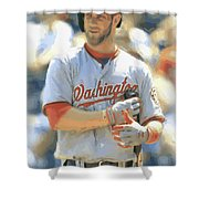 Washington Nationals Bryce Harper Shower Curtain