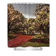 Washington Square In Mobile Alabama Painted Shower Curtain
