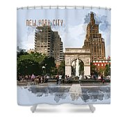 Washington Square Park Greenwich Village With Text New York City Shower Curtain