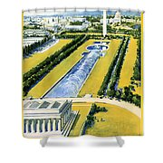 Washington Vintage Travel Poster Restored Shower Curtain