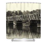 Washington's Crossing Bridge On A Rainy Day Shower Curtain