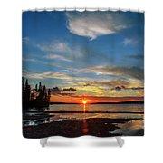 A Delightful Summer Sunset On Lake Waskesiu In Canada Shower Curtain